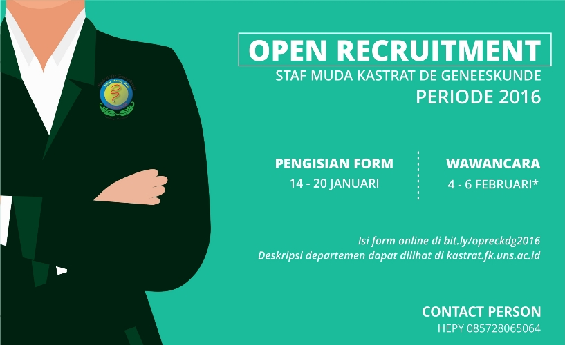 OPEN RECRUITMENT STAFF MUDA KASTRAT DE GENEESKUNDE 2016